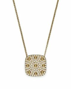 14k Yellow Gold over 925 Sterling Silver Chain Necklace Studded Square Pendant