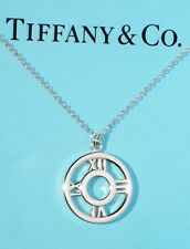 Tiffany & Co Atlas Sterling Silver Medallion Round Circle Pendant Necklace
