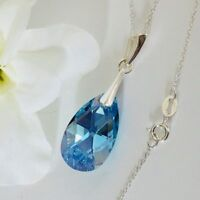 Swarovski Elements Crystal Necklace Pendant Teardrop 925 Silver Aquamarine Gift