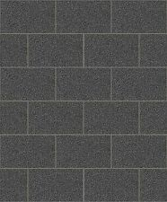 Crown Kitchen/Bathroom Black Glitter London Tile/Brick Effect Wallpaper (M1055)
