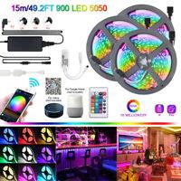 15M 5050 SMD LED Strip Light RGB tape lamp for Alexa Google Smart WIFI Full Kit