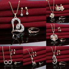 Fashion Crystal Love Heart Necklace Earrings Ring Wedding Bridal Jewellery Set