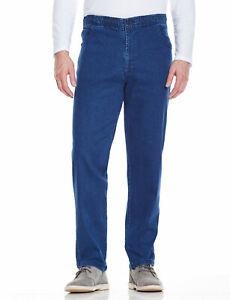 Mens Elasticated Jeans Drawcord Denim Stetch Waist Trouser Pants