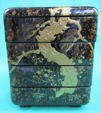 ANTIQUE JAPANESE JUBAKO BLACK GOLD MAKIE LACQUER WARE 4 TIER BENTO BOX MEIJI ERA