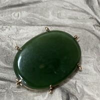 Antique Victorian Fine Nephrite Jade 'Ruan Yu' Oval Brooch 12ct Yellow Gold 1880