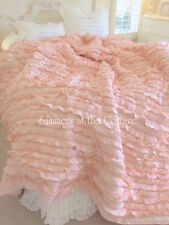 BLISSFUL COTTAGE PEACH RUFFLE FRENCH MARKET QUEEN COMFORTER QUILT SO SHABBY CHIC