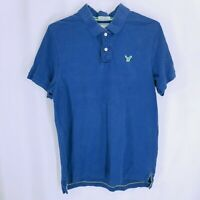 American Eagle Outfitters Mens Vintage Fit Short Sleeve Polo Shirt Blue Size XL*