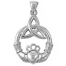Irish Claddagh .925 Solid Sterling Silver Pendant
