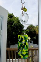 Sun Catcher Stained Glass Bamboo Rustic Up-cycle Garden Yard Art Signed