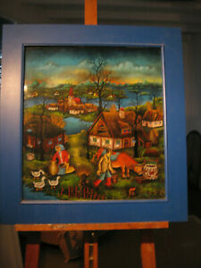 Hinterglasmalerei aus Jugoslawien. Dieses Gemälde ist sehr detailverliebt.