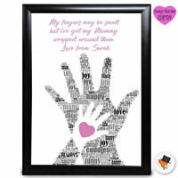 Personalised Hand On Hand Present Mothers Day Gifts Mum Mummy Nan Birthday