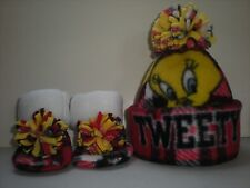 TWEETY BIRD HAT BABY HANDCRAFTED newborn BEANIE & BOOTIES FLEECE SET