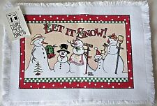 "Mary Engelbreit Snowman Fabric Placemat -12-1/2"" x 17-1/2"" - Set of 2 - New"