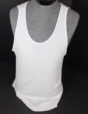 VINTAGE FRUIT OF THE LOOM WHITE RIBBED TANK TOP MENS SIZE XL XXL WIFE BEATER