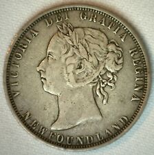1882 H Canada Newfoundland 50 Cents Silver Coin Very Fine Half Dollar VF 50c