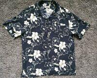 Caribbean Joe Hawaiian Shirt Mens L Rayon Tropical Floral Button Up Black