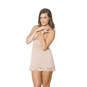 NWT TIA LYN Essential Collection Beige Three-in-One Slip Chemise Lingerie