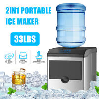 2 IN 1 Electric Water Dispenser Built-In Ice Maker Machine Countertop Portable