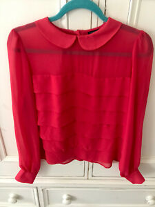 Topshop Button Back Peter Pan Collar Red Blouse Size 10