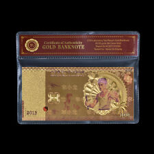Wr Bruce Lee Kung Fu Action Figure Pattern Gold Banknote China Souvenir /w Coa