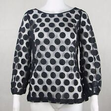 Laundry By Shell Secal Lace Ladies Long Sleeve Blouse Black Size 6