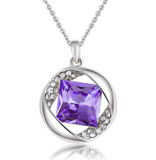 NEW Womens Purple Diamond Crystal Rhinestone Silver Chain Pendant Necklace ---