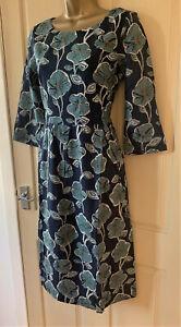 SEASALT navy Retro Bloom Nettle Raven Kennack Sands Dress pockets  Sizes 8 to 16