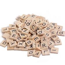 IM- 100Pcs Wooden Scrabble Tiles Black Letters Numbers For Wood Alphabet Toy Gra