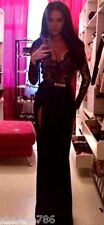 Black Beige Maxi DRESS Sexy Gown Sleeves Lace Slit Long Formal Cocktail S M L XL