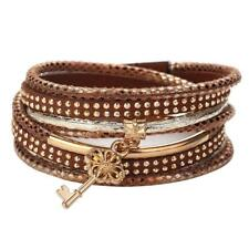Charm Women Bracelet Crystal Rhinestone Leather Wrap Bangle Jewelry Multilayer