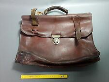 Ancienne serviette en cuir cartable instituteur école vintage old suitcase