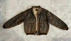 Avirex A-2 USA Leather Flight Jacket Bomber Brown Size L Condition Used