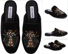 afa87534405 STEVE MADDEN Hugh Embellished Mule Slip-On black Women Velvet flat Shoes Sz  6 M