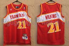 NWT Dominique Wilkins #21 NBA Atlanta Hawks Swingman Throwback Jersey Man Red