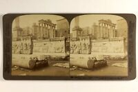 Italia Roma Tempio Da Saturn Archeologia Foto Stereo Vintage Albumina 1897