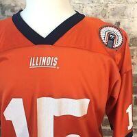 Vintage Illinois Fighting Illini Orange Football Jersey Chief Illiniwek Men's L
