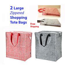 IKEA 2-Pk Zipper Shopping Bags KNALLA Black &Red,Reusable Grocery Gifts NEW