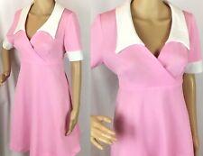 Mini Vestido Vintage 60s 70s Mod Dolly rosa blanco puños Babydoll Cuello M-L UK 14