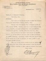 Vtg 1912 Southern Iron and Steel Birmingham Alabama AL Letterhead Receipt Letter