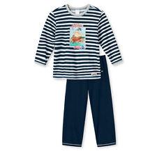 Schiesser Jungen Schlafanzug Pyjama lang dunkelblau