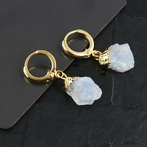 June Birthstone Rough Rainbow Moonstone Yellow Gold Plated Clip On Earring