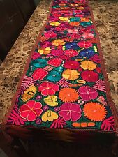 Handmade Mexican Otomi Floral Table Runner Decorative Kitchen Bedding Throw