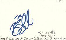 Brent Seabrook Chicago Nhl Hockey Autographed Signed Index Card Jsa Coa