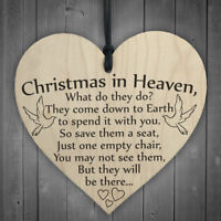 Wooden 'Christmas in Heaven' Heart Plaque/Sign Festival XMAS Gift Home Decor Hot