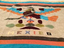 """Mexican Hand Woven Rug Blanket Tapestry Chenille 48"""" X 81"""" Aztec Bird Design"""
