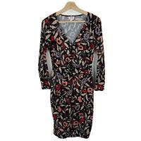 Leona Edmiston Womens Dress Size XS Multicolored Floral Long Sleeve V-Neck