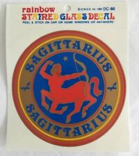 Sagittarius Astrological Sign Stained Glass Decal Vtg. Window Car Sticker Archer