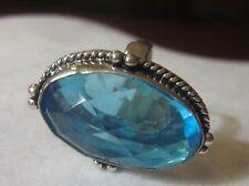 Kate Spade Mavis Street PINK Glitter Gia Clutch + STERLING TOPAZ BLUE RING 6.5