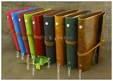 Portable Leaves Leather Bound Journal Refillable Personalized Travel Diary Grey