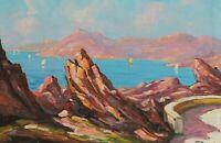 Peinture Ancienne Huile signé Elie BERNADAC (1913-1999) - Corse, Calanques, Mer